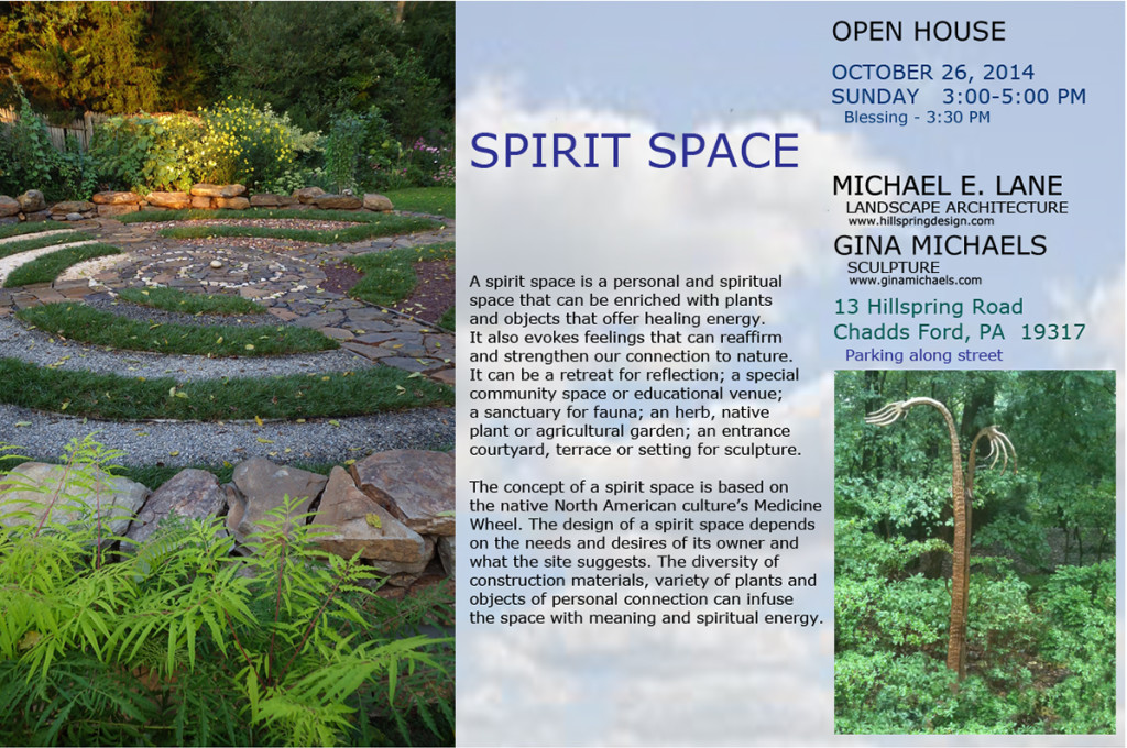 Landscape architect Michael E. Lane and I have collaborated on creating a Spirit Space, a private sanctuary based on the Medicine Wheel. We're having an opening reception on Sunday, with a blessing of the space at 3:30.